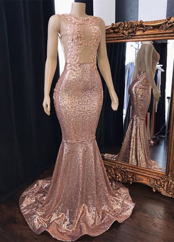 Stunning Scoop Sleeveless Pink Sequins Mermaid Evening Gowns