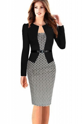 Business Party Bodycon One-piece Dress Women Colorblock Wear to Work_1