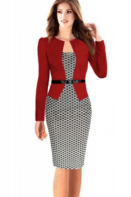 Business Party Bodycon One-piece Dress Women Colorblock Wear to Work_2
