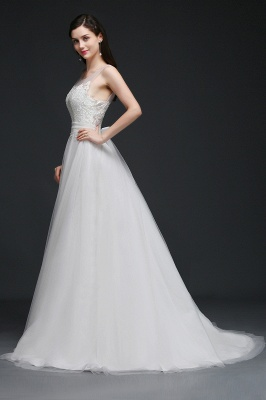 A-line Scoop Tulle Elegant Wedding Dress With Lace_5