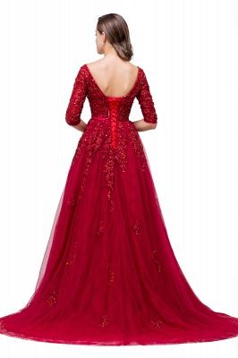 A-Line Floor-Length V-neck Half Sleeves Lace Appliques Prom Dresses_3