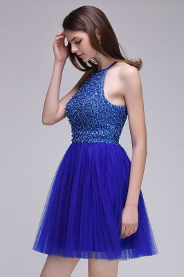 CAITLYN | A-line Halter Neck Short Tulle Royal Blue Homecoming Dresses with Beading_5