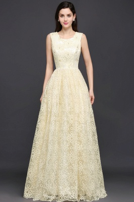 A-line Scoop Floor Length Evening Dress With Lace_2