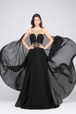 A-line Scoop Chiffon Prom Dress With Lace_5