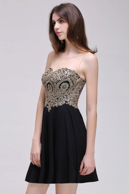 CAITLIN   A-line Short Chiffon Black Homecoming Dresses with Appliques_8