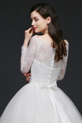Princess Scoop Tulle White Wedding Dress With Lace_7