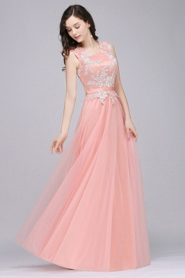 CARLY   A-line Jewel Neck Long Tulle Pink Prom Dresses with Sash_9