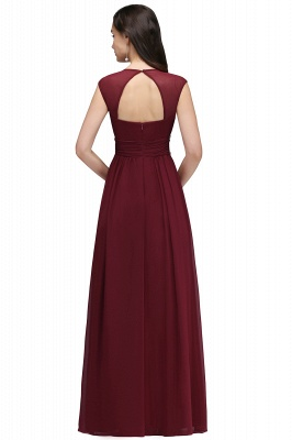 ALISON | Sheath V Neck Burgundy Chiffon Long Evening Dresses With Beads_11