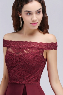 BROOKLYN | A-Line Off-the-shoulder Short Lace Burgundy Homecoming Dresses_6