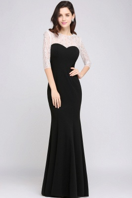 Mermaid Floor Length Black Evening Dresses with Lace_6