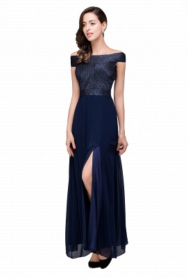 Sheath Off Shoulder Floor-Length Chiffon Prom Dresses_4