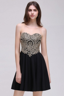 CAITLIN   A-line Short Chiffon Black Homecoming Dresses with Appliques_5