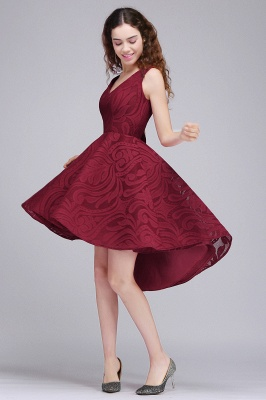 Cheap Burgundy Hi-lo A Line V neck Lace Cocktail Party Dresses_3