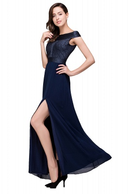 Sheath Off Shoulder Floor-Length Chiffon Prom Dresses_5