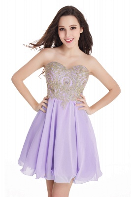 CYNTHIA | A-Line Strapless Short Chiffon Prom Dresses with Beadings_4