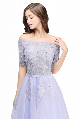 A-line Bateau Tulle Prom Dress with Appliques_5