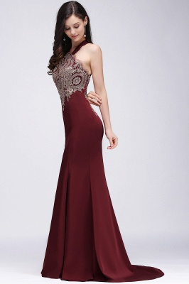 Mermaid Scalloped Floor-length Appliques Burgundy Prom Dresses with Beadings_2