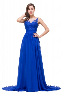 A-line Scoop-Neck Floor-length Sleeveless Chiffon Prom Dresses with Appliques_8