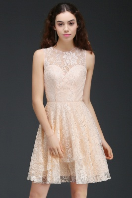 A-line Short Lace Homecoming Dress_4