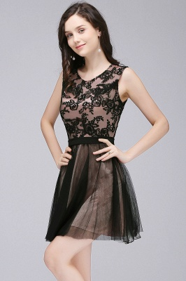 ELEANOR | A-line Crew Short Sleeveless Tulle Lace Appliques Prom Dresses_4