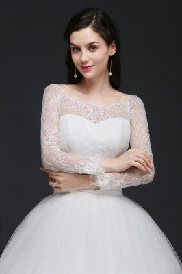 Princess Scoop Tulle White Wedding Dress With Lace_5