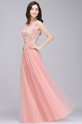 CARLY   A-line Jewel Neck Long Tulle Pink Prom Dresses with Sash_6