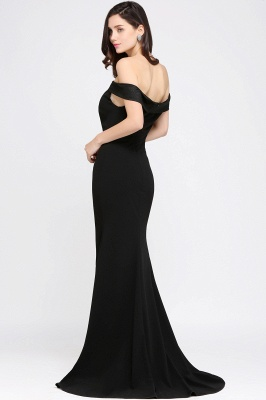 Mermaid Sweep Train Off The Shoulder Black Evening Dresses_4