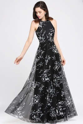 A-line Floor Length Black Evening Dresses with Flowers_2