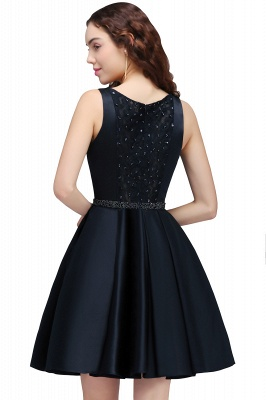 A-Line Round Neck Short Dark Navy Homecoming Dresses With Crystal_3