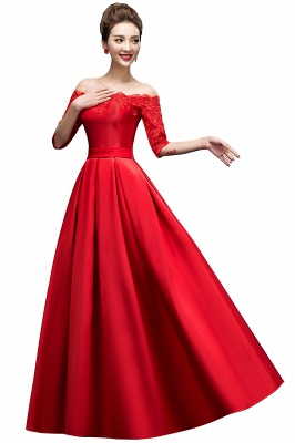 ELLISON | A-line Half Sleeve Floor-length Off-shoulder Appliques Prom Dresses_2