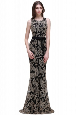 Sheath Round Neck Floor-Length Lace Evening Dresses_1