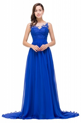 A-line Scoop-Neck Floor-length Sleeveless Chiffon Prom Dresses with Appliques_1