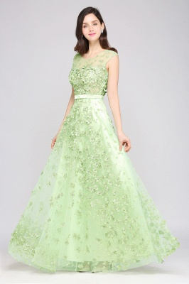 A-line Floor Length Tulle Green Prom Dresses with Appliques_6