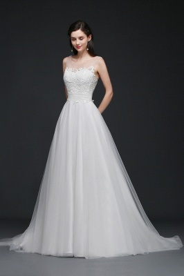 A-line Scoop Tulle Elegant Wedding Dress With Lace_7