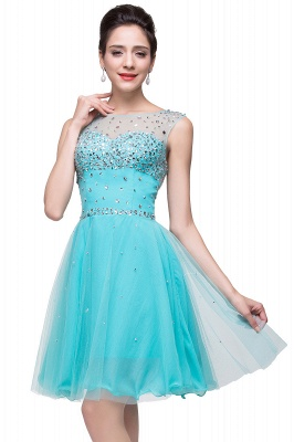 ELIN | A-line Sleeveless Crew Short Tulle Prom Dresses with Crystal Beads_9