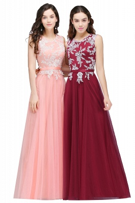 CARLY   A-line Jewel Neck Long Tulle Pink Prom Dresses with Sash_2