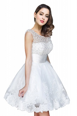 A-line Jewel Tulle Party Dress With  Beading_6