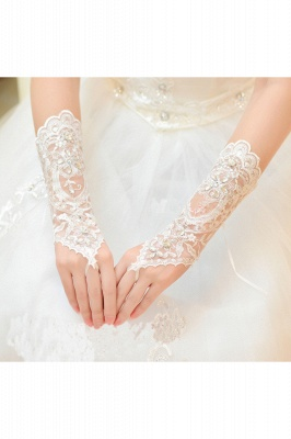 Lace Fingerless Elbow Length Wedding Gloves with Appliques_1