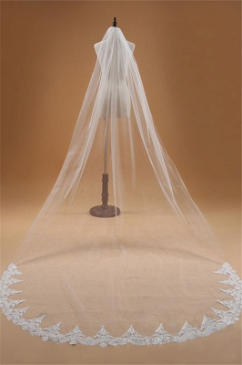 3M One Layer Lace Edge White Ivory Cathedral Wedding Veil ong Bridal Veil_1