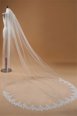 3M One Layer Lace Edge White Ivory Cathedral Wedding Veil ong Bridal Veil_4