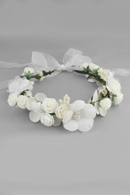 Flower Plastic Special Occasion Flower-Girl's-Headwear Headpiece with Imitation Pearls_1