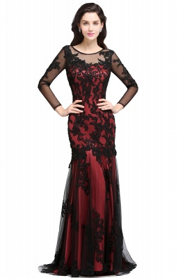 Mermaid Jewel Neck Long Tulle Red Sexy Evening Dresses with Beading_1