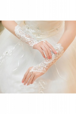 Lace Fingerless Elbow Length Wedding Gloves with Appliques_4