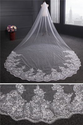 Cathedral Luxury Princess Tulle Lace Sequin Trim Edge 4*1.8M Wedding Gloves with Sequined_4