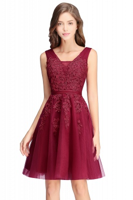 ADDILYNN | A-line Knee-length Tulle Prom Dress with Appliques_13
