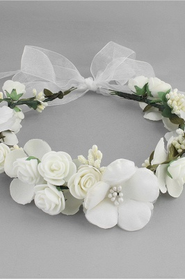 Flower Plastic Special Occasion Flower-Girl's-Headwear Headpiece with Imitation Pearls_4