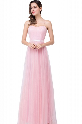 ELLIS | A-line Sweetheart Floor-length Pink Tulle Ruffles Bridesmaid Dresses_2