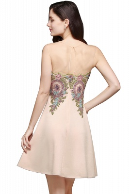 A-line Scoop Chiffon Short Homecoming Dress With Appliques_3
