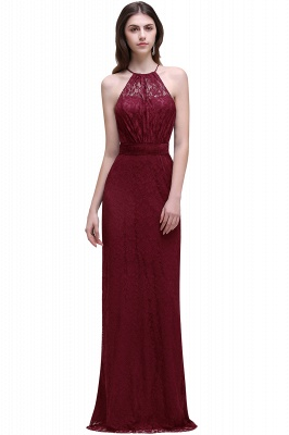 CHARLEE | Column Floor length Halter Navy blue Lace Prom Dress_1