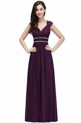 ALISON | Sheath V Neck Burgundy Chiffon Long Evening Dresses With Beads_4